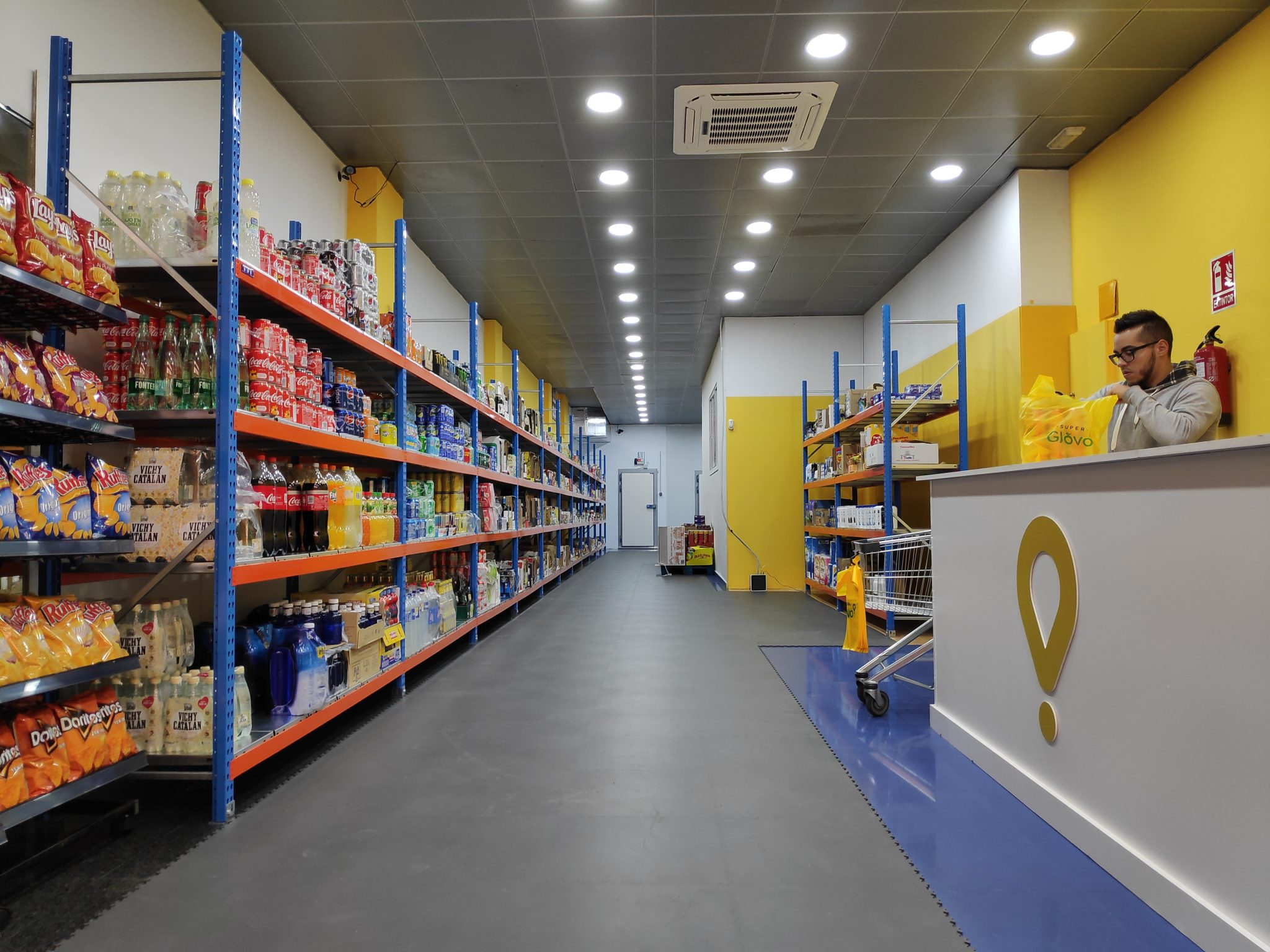 Inside Glovo supermarket in Madrid