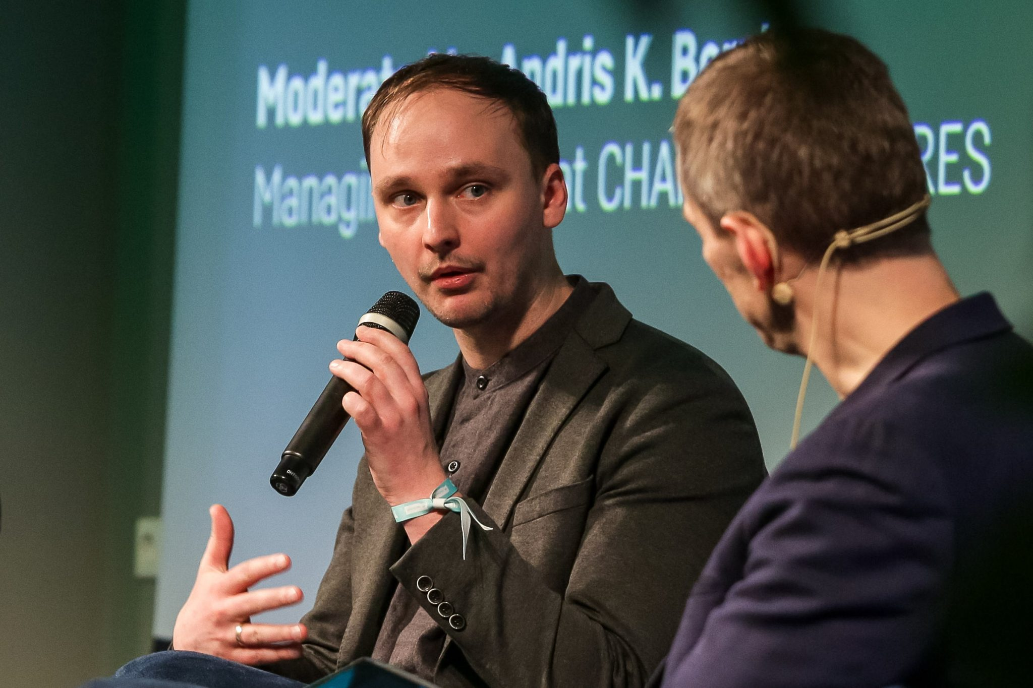 Nordigen cofounder and MD Rolands Mesters speaking at TechChill 2019. Credit: Lauris Vīksne.