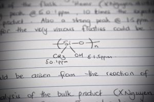 Handwritten entry in a science lab notebook