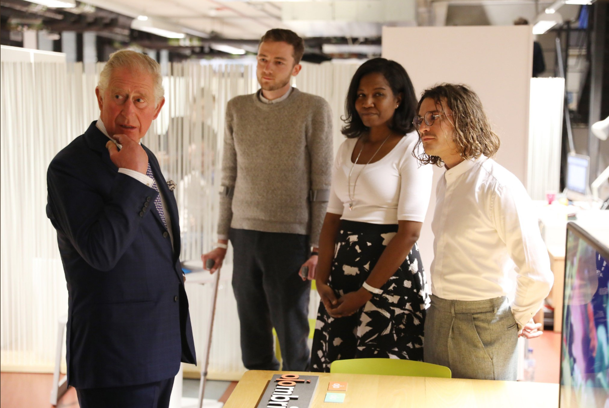 Prince Charles meets Olombria founders Tashia Tucker, Louis Alderson-Bythell, and Greg Orrom Swan.