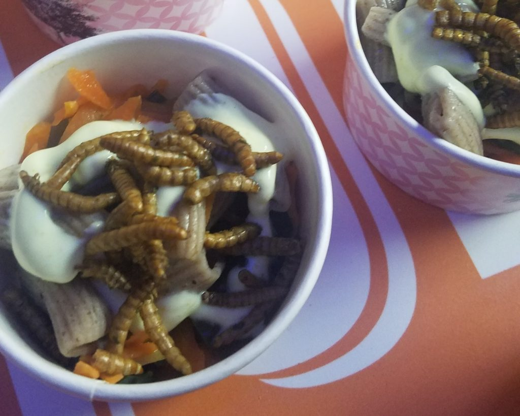 Jimini's edible insects on top of pasta on offer at the Hello Tomorrow tech conference