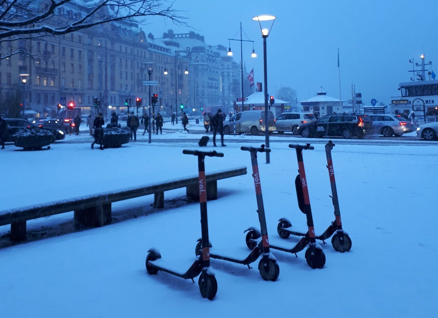 Voi scooters spotted in snowy Stockholm.