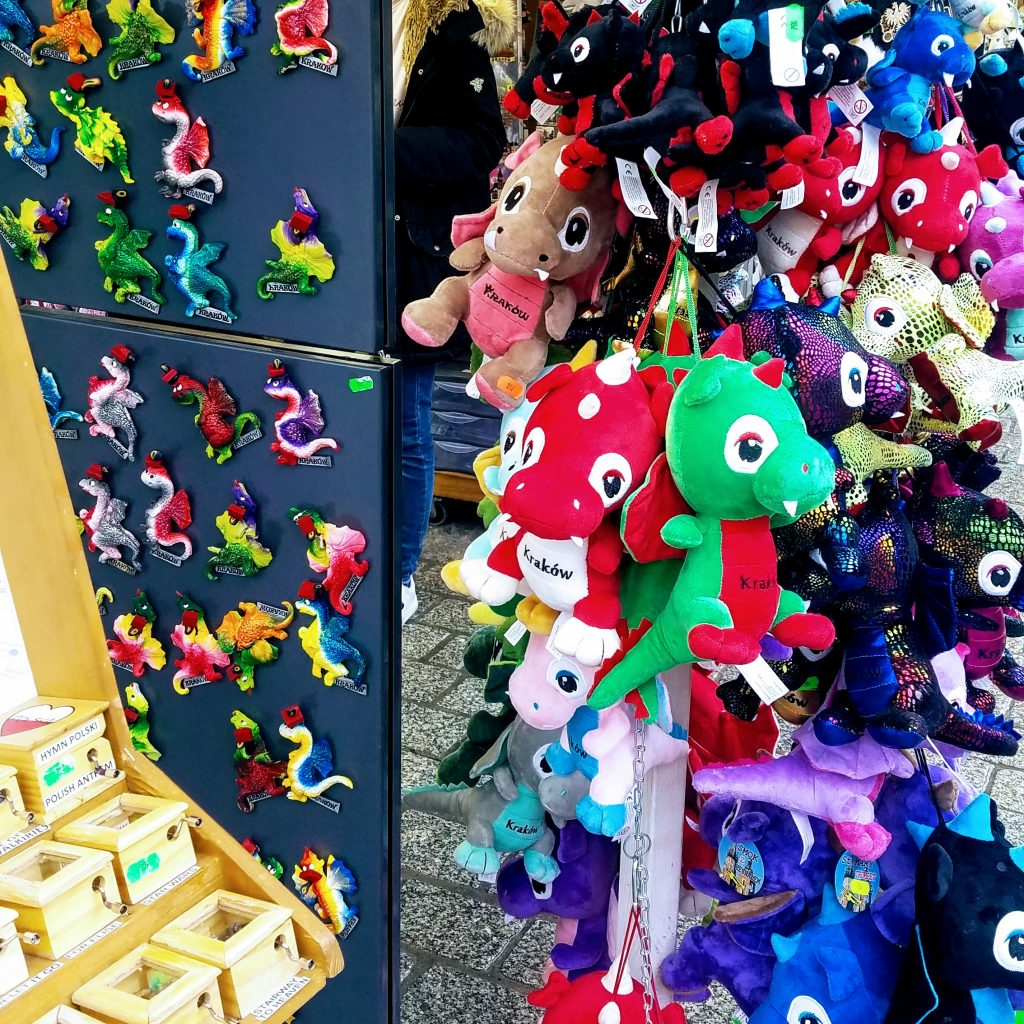 Dragon toys on display in Krakow