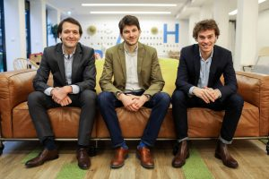Photo of French doctor booking platform Doctolib's founders: from left, Ivan Schneider, Jessy Bernal and Stanislas Niox-Chateau.