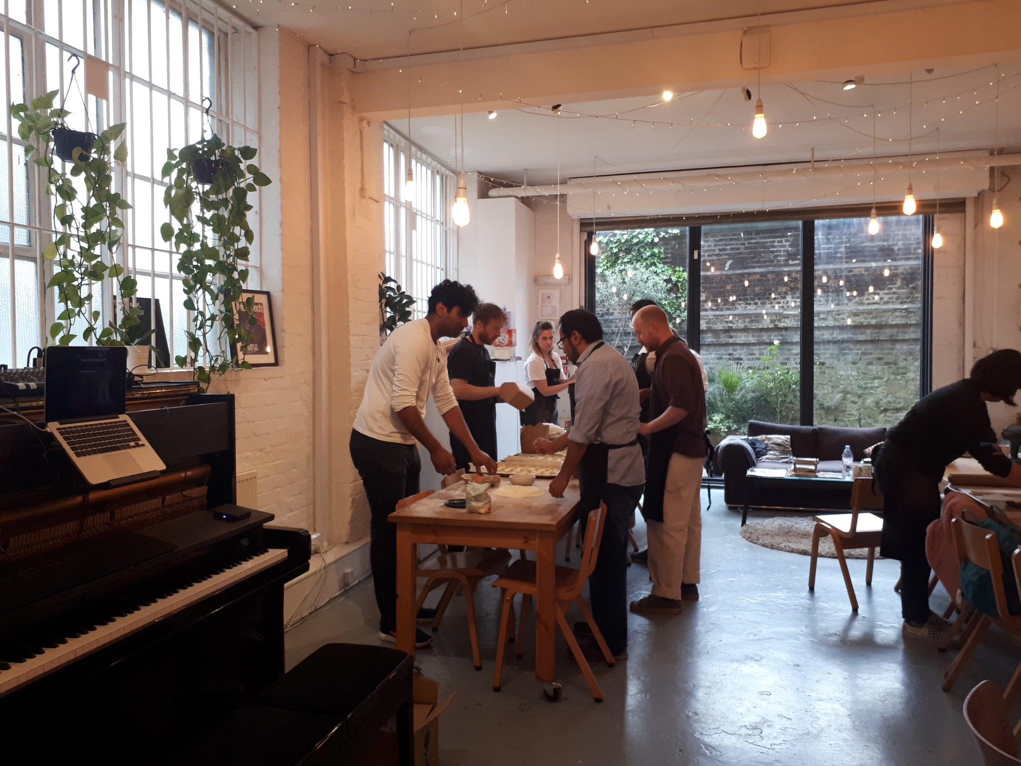 Photo of pasta-making workshop at Roli's office.