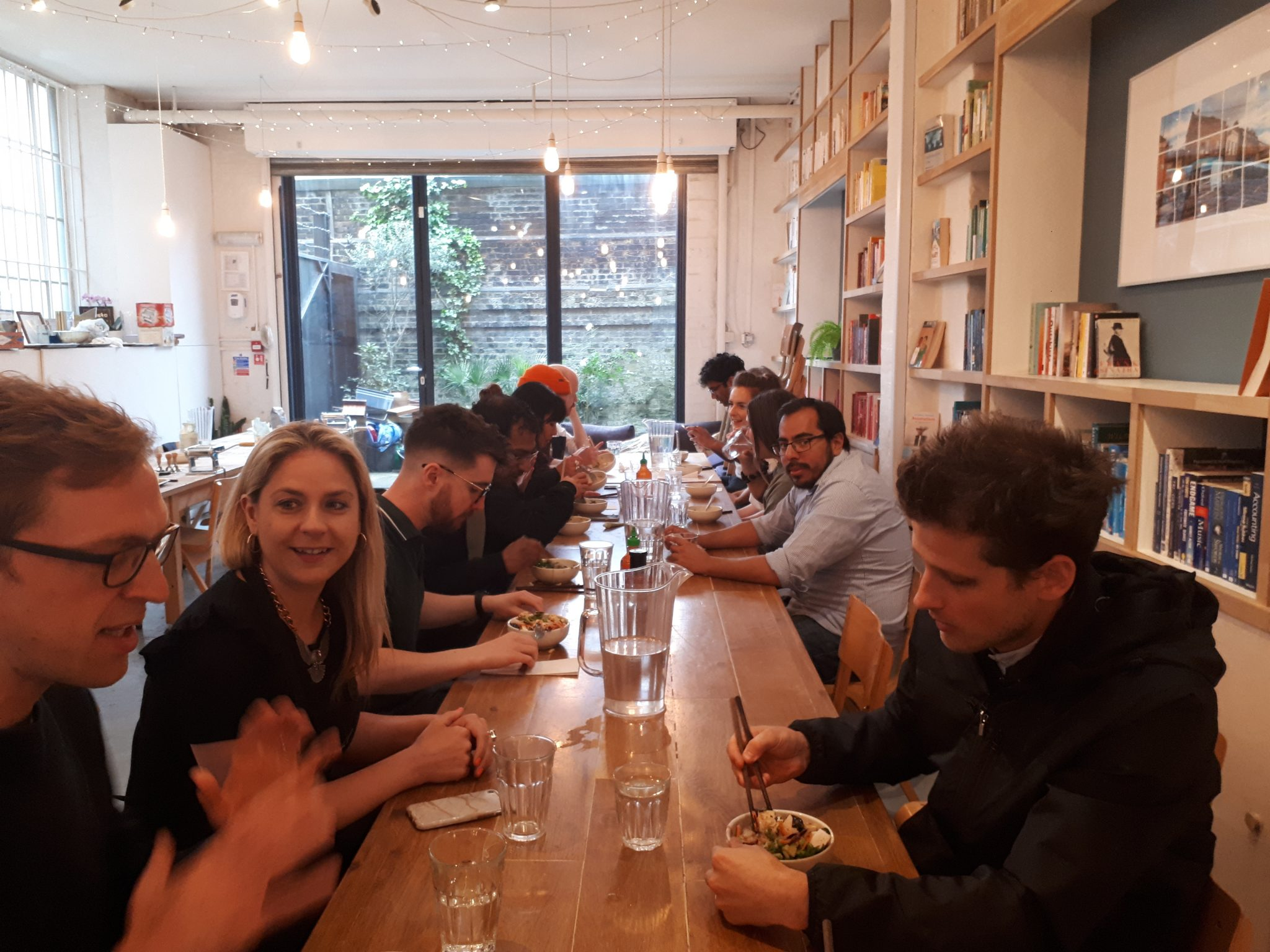 Photo of Roli's team at lunch (Corey Harrower is front right).