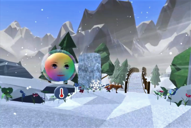Image of a virtual reality snowy landscape