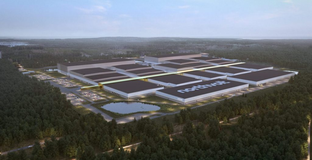 Model image of Northvolt's planned battery factory when it's finished building.
