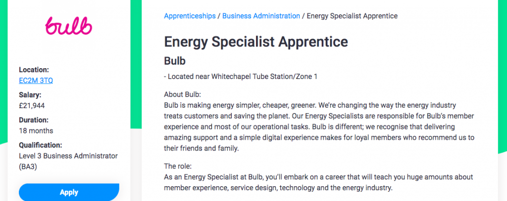 Screenshot of An apprentice role open at green energy business Bulb.