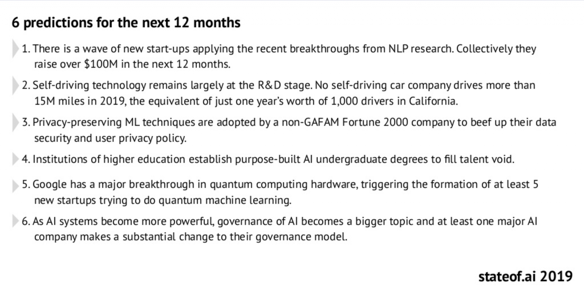 Image showing a list of 6 AI predictions for 2020