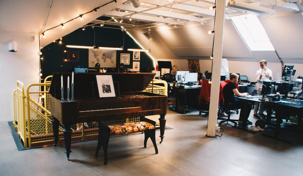 Image of a piano from the Epidemic Sound Stockholm office