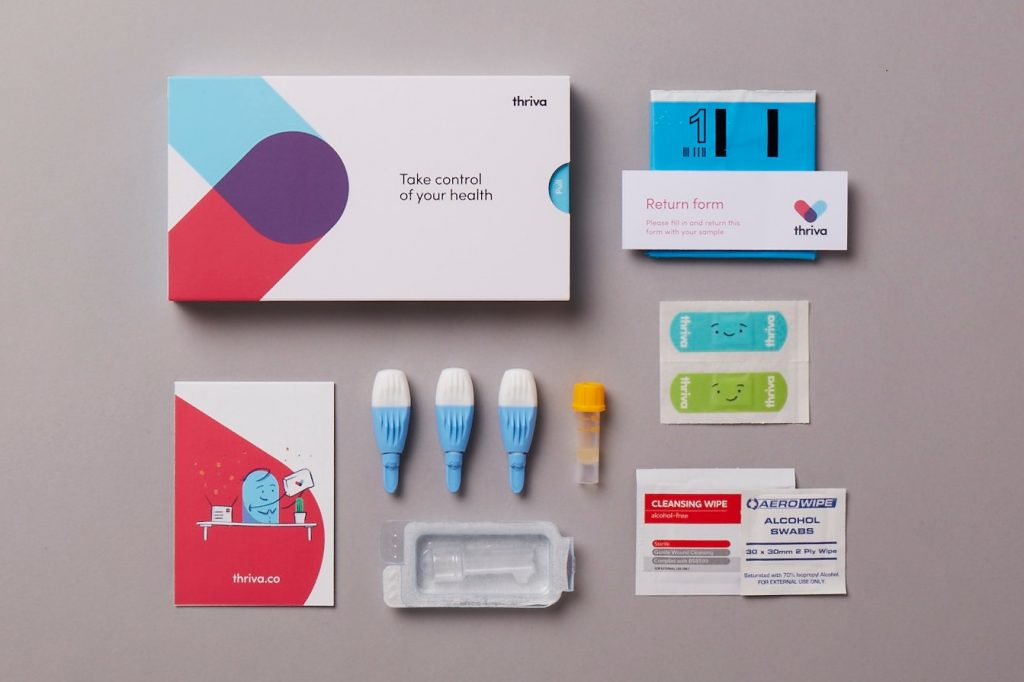 Thriva blood testing kits are sent by post.