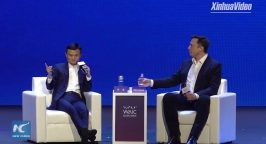 Jack Ma on stage with Elon Musk