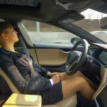 Woman asleep in driverless car