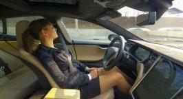 Woman asleep in driverless car