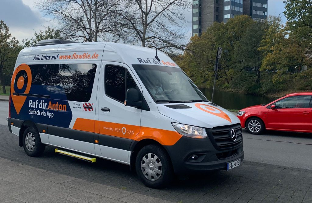 Photo of ViaVan buses in Bielefeld in Germany.