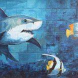 Fish and shark mural