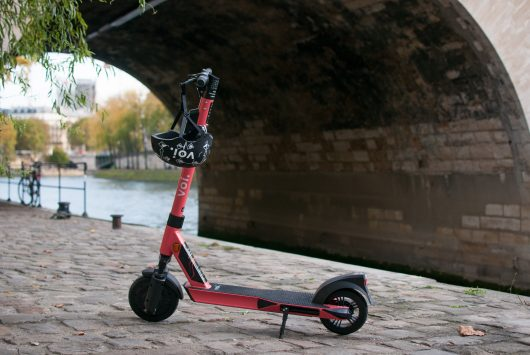 A photo of a Voi scooter.