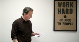 Leader of the Conservative Party David Cameron looks at his notes before delivering his speech at a rally at the Milton Keynes Academy Saturday March 27, 2010. Photo By Andrew Parsons