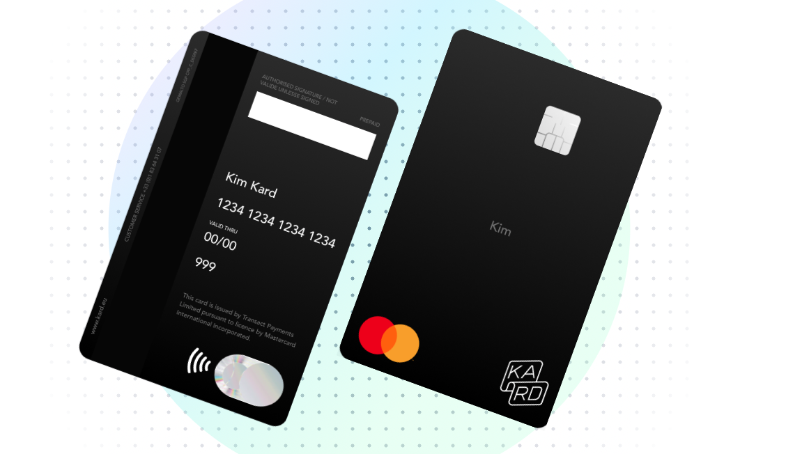 A picture of the Kard bank card