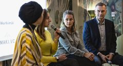 Photo of Marta Sjögren (centre left) and Sophia Bendz (centre right) speaking at the Inklusiiv launch event.