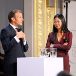 Photo of President Macron announcing the French Tech strategy with new director Kat Borlongan in 2018.