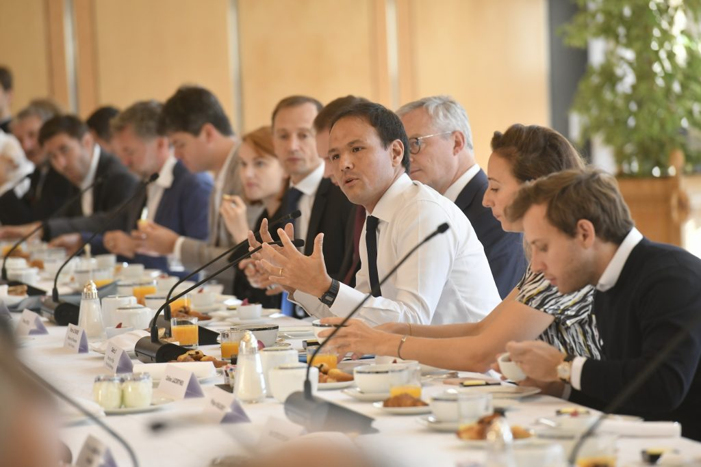 Photo of Cédric O, minister for the digital economy, at a breakfast launch event of the Next40.