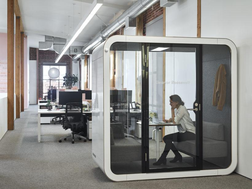 More than 40 percent of companies in the Forbes 100 have bought Framery pods. Pictured, the Framery O phone booth.