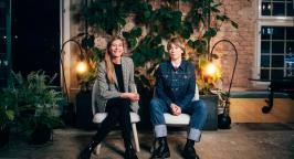photo of Agate Freimane (black and white) and Elsa Sciences Sofia Svanteson (jeans)