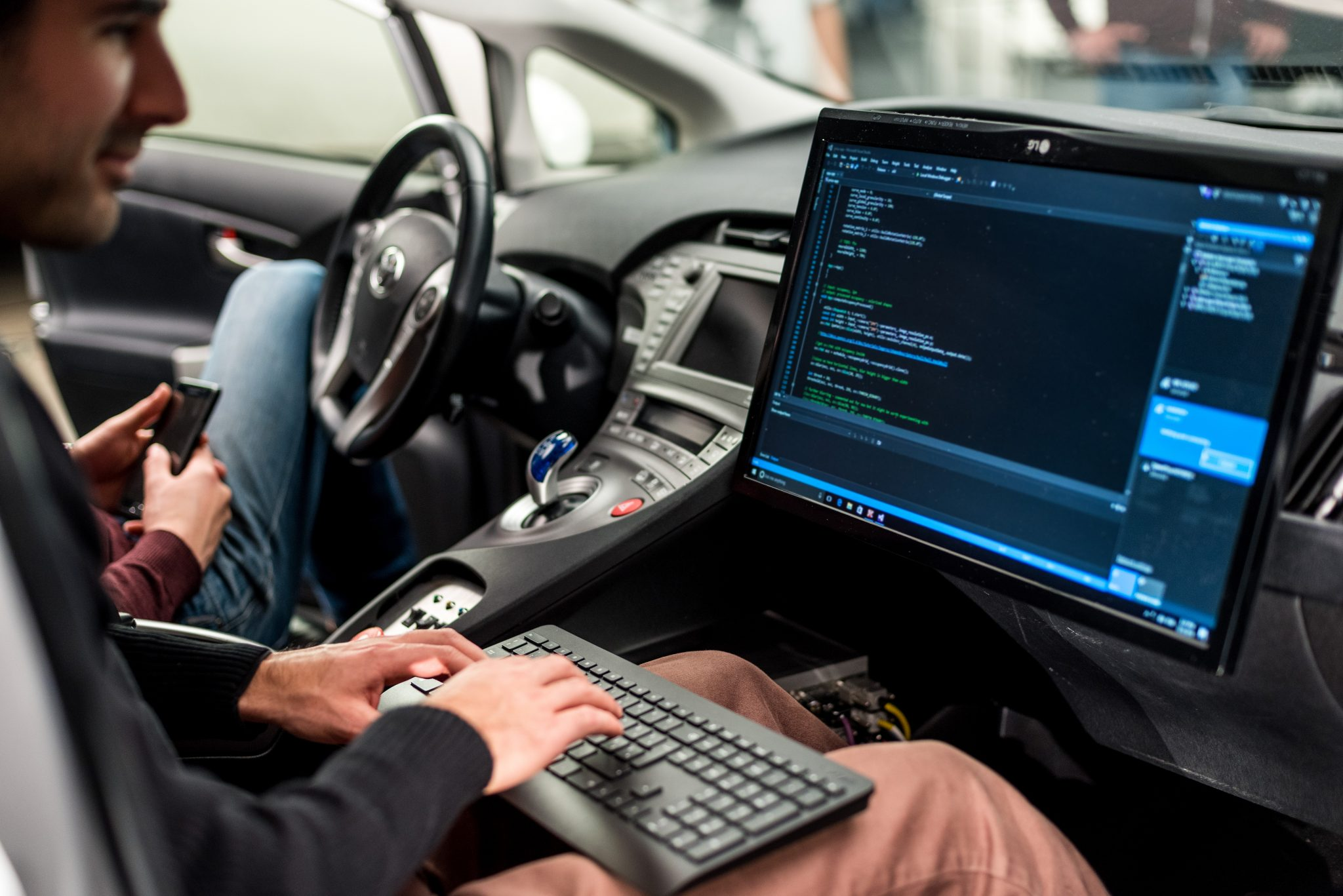 Aimotive engineer in car