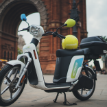 One of Cooltra's e-mopeds in Barcelona
