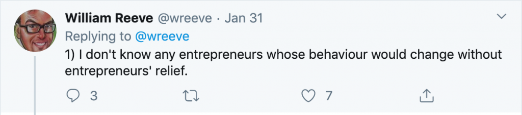 William Reeve tweet about Entrepreneurs' Relief