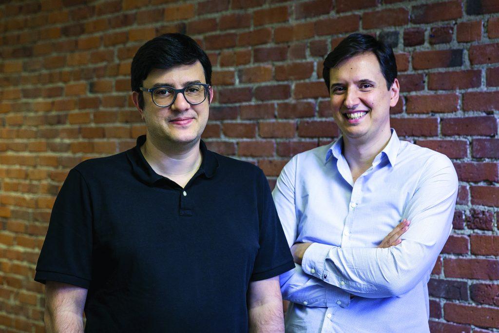 Portrait of hiring platform Workable cofounders Nikos Moraitakis, CEO, and Spyros Magiatis, CTO. Photo by Caitlin Cunningham.