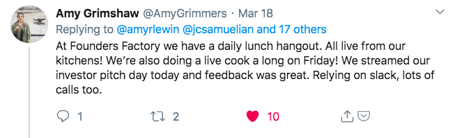 Photo of Twitter post about cooking