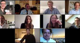A screen capture of team members at Partech having a videoconferencing meeting