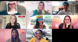 Picture of 8 women using dfifferent L'Oreal filters in a video call