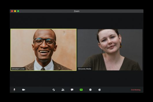 Screenshot of two people on a Zoom video call