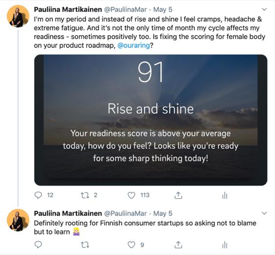 Tweet from Pauliina Martikainen's Twitter account