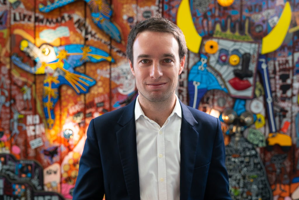 A portrait of Matthieu Somekh, who runs startups campus Zebox in Marseille