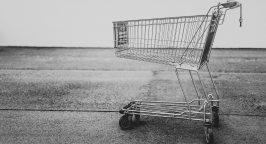 Black and white picture of a shopping trolley