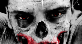 Black and white image of a zombie