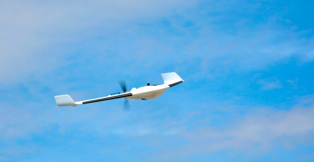 A photo by Delair showing one of its drones flying.