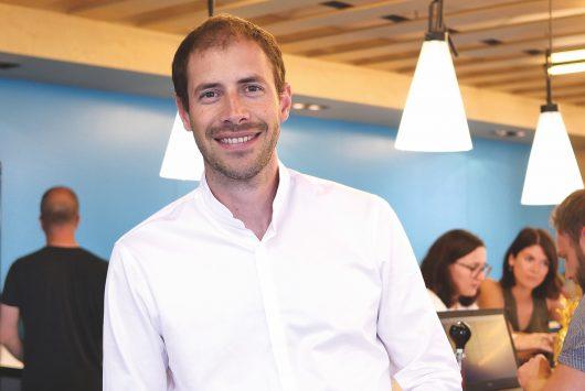 A portrait of Klaxoon founder Matthieu Beucher
