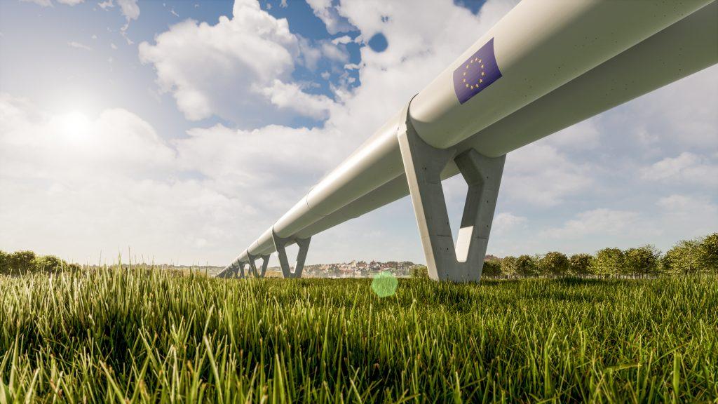 Zeleros hyperloop tunnel over a field of grass