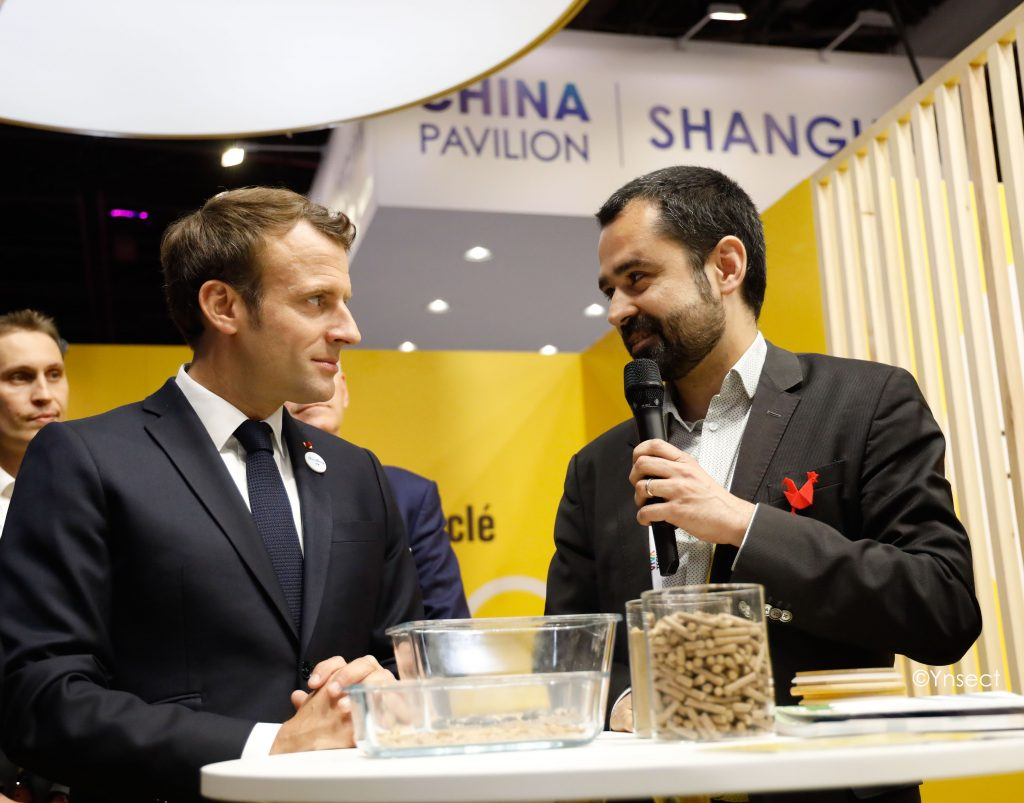 French president Macron with Ynsect founder Antoine Hubert