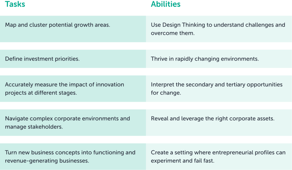 List of requirements for corporate innovation leader