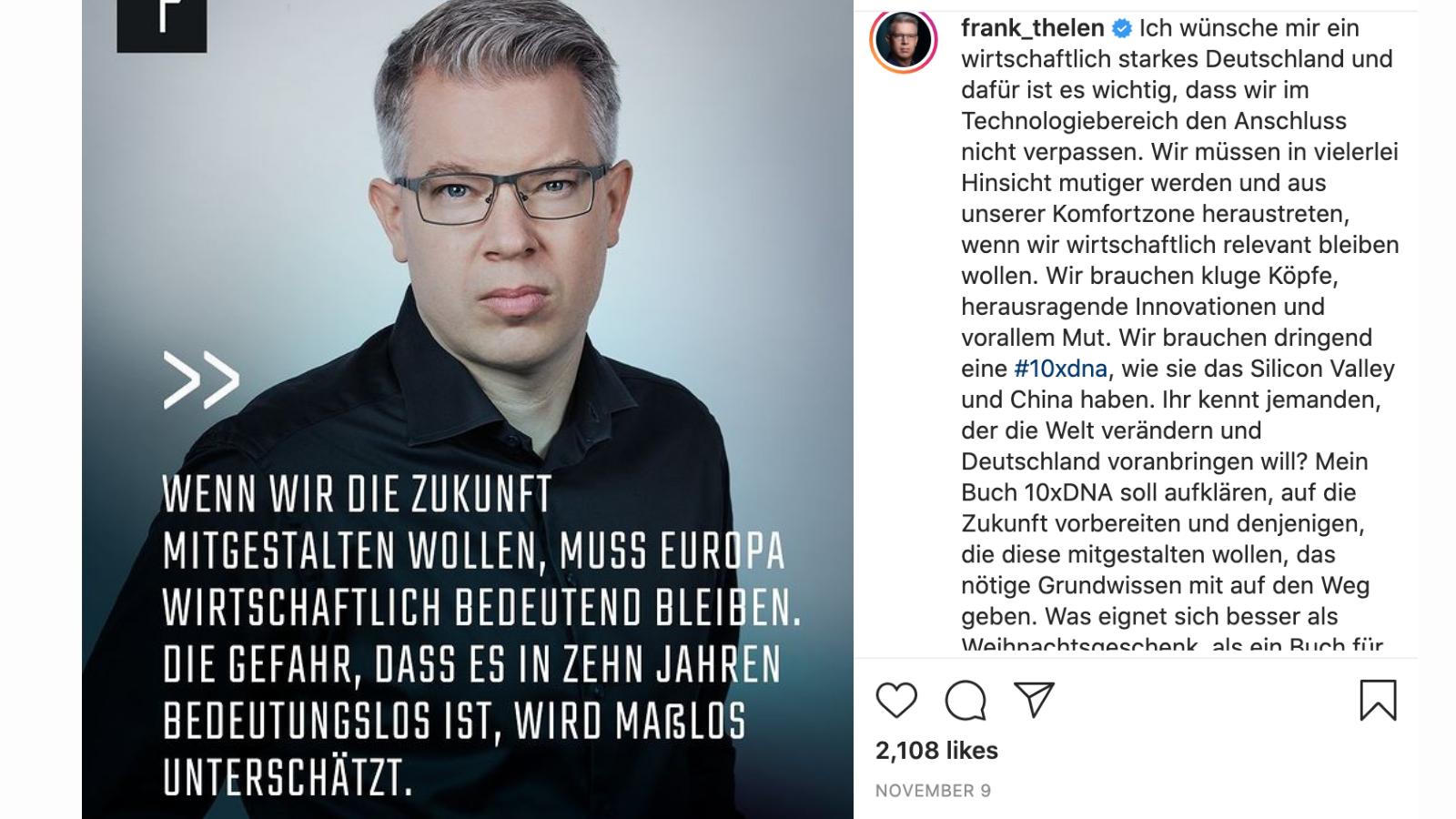 Frank Thelen, Instagram tech influencer to follow