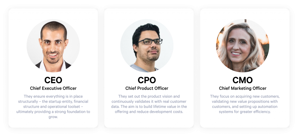 CEO, chief product officer and chief marketing officer roles
