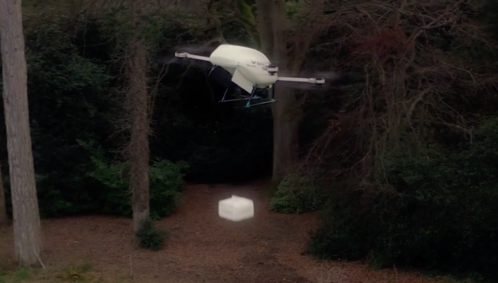 Manna drone lowering a package