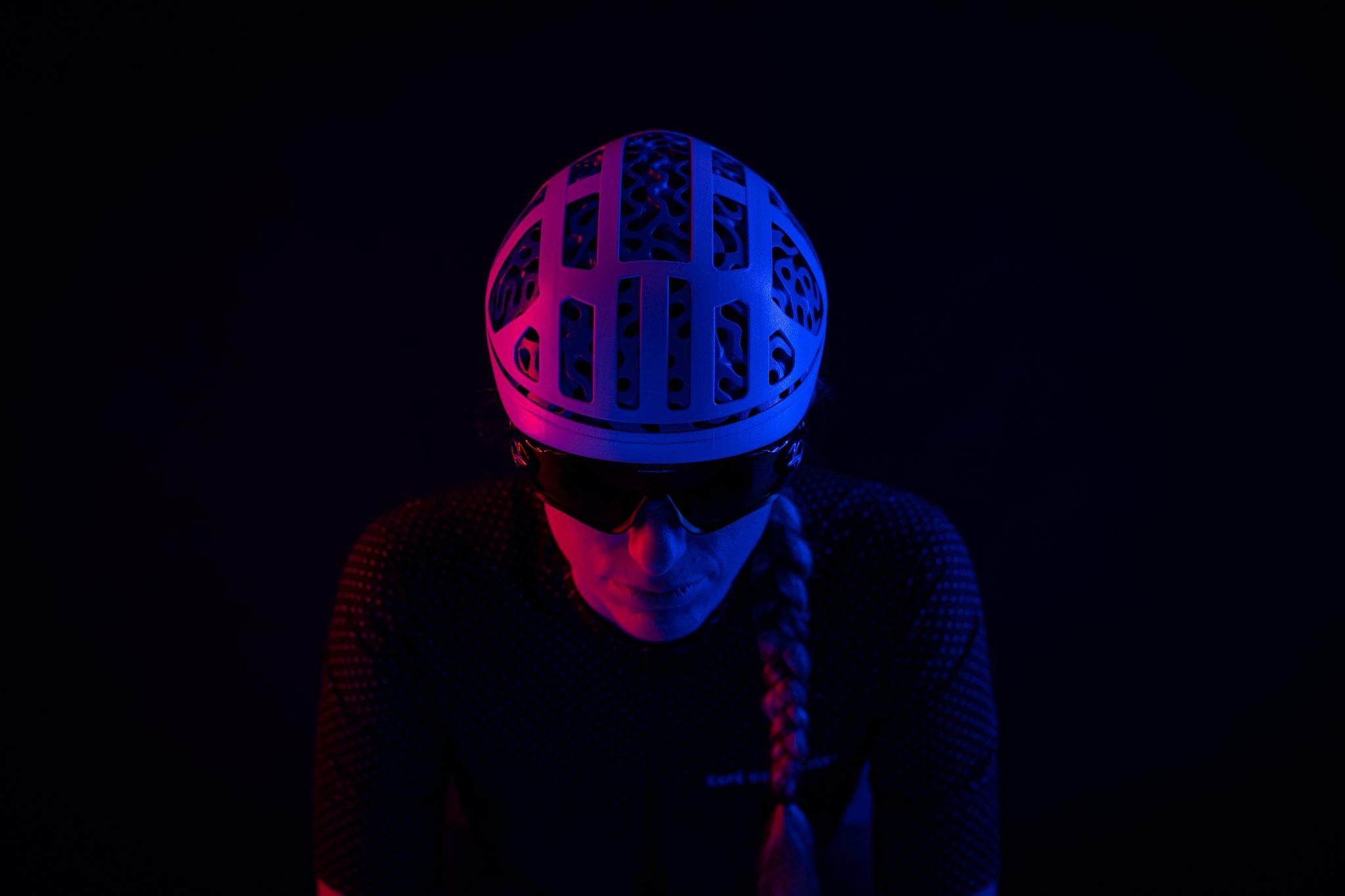 A bike helmet designed by Hyperganics.